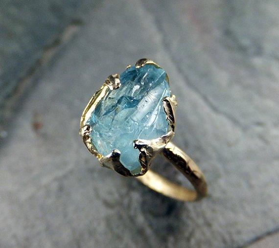 кольцо с голубым аквамарином